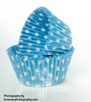 blue dot muffin cups