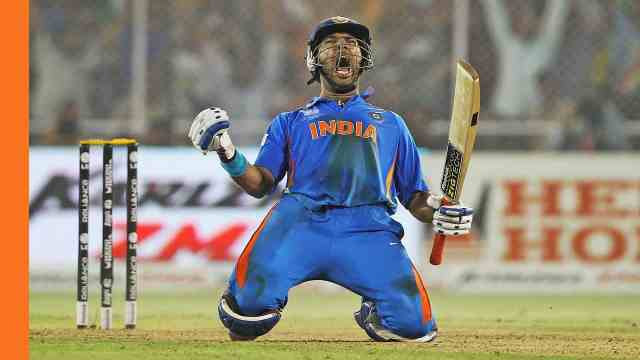 Yuvraj Singh playing enthusiastically in the match