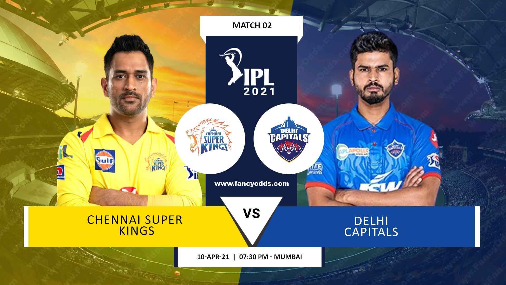 IPL 2021 M02: CSK Vs DC Match Timings Date Live Score Updates | Vivo IPL 2021 Chennai Super Kings Vs Delhi Capitals 2nd Match Venue Location Fixture Squad