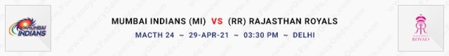 Match No 24. Mumbai Indians vs Rajasthan Royals (MI Vs RR)