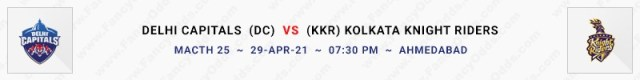 Match No 25. Delhi Capitals vs Kolkata Knight Riders (DC Vs KKR)