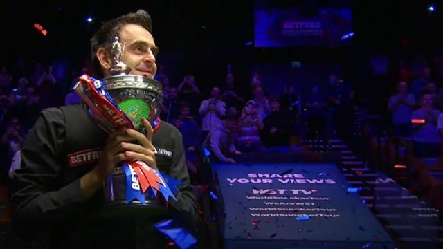 Ronnie O'Sullivan after winning the 2020 World Snooker Championship