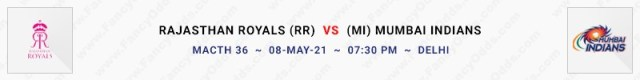 Match No 36. Rajasthan Royals vs Mumbai Indians (RR Vs MI)