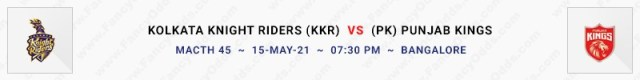 Match No 45. Kolkata Knight Riders vs Punjab Kings (KKR Vs PK)