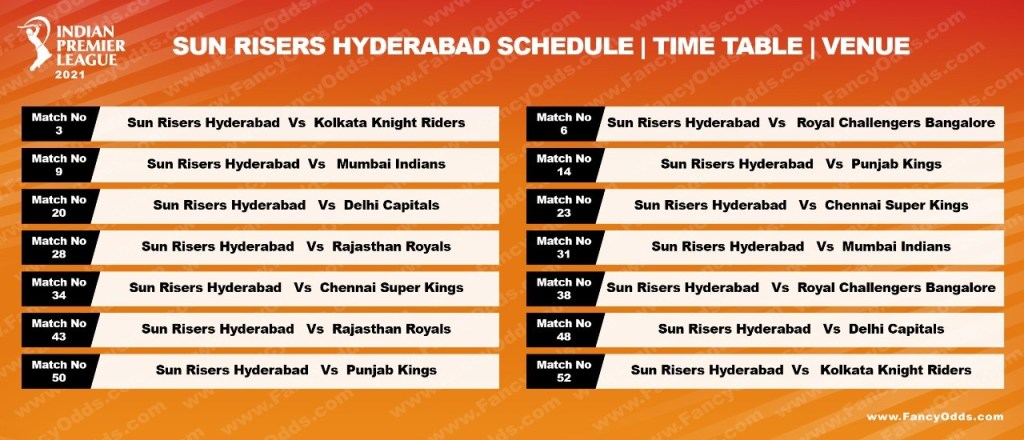 Vivo IPL 2021 Sun Risers Hyderabad Schedule Full (SRH) Timetable | IPL 14 SRH Live Score | Match Date | Updates