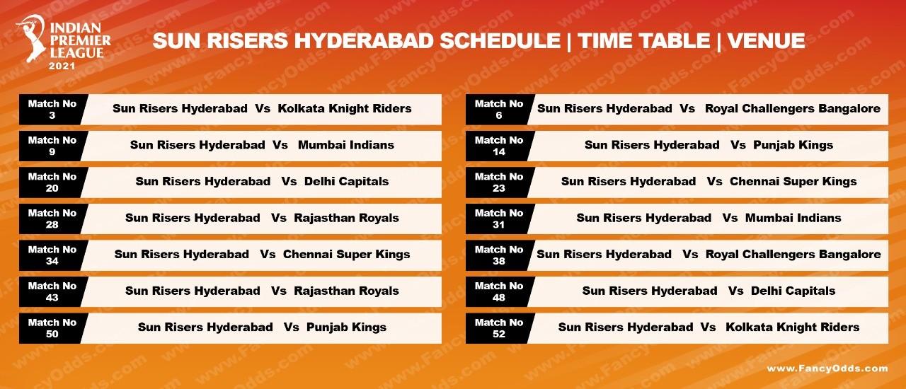 Vivo IPL 2021 Sun Risers Hyderabad Schedule Full (SRH) Timetable | IPL 14 SRH Live Score | Match Date | Updates