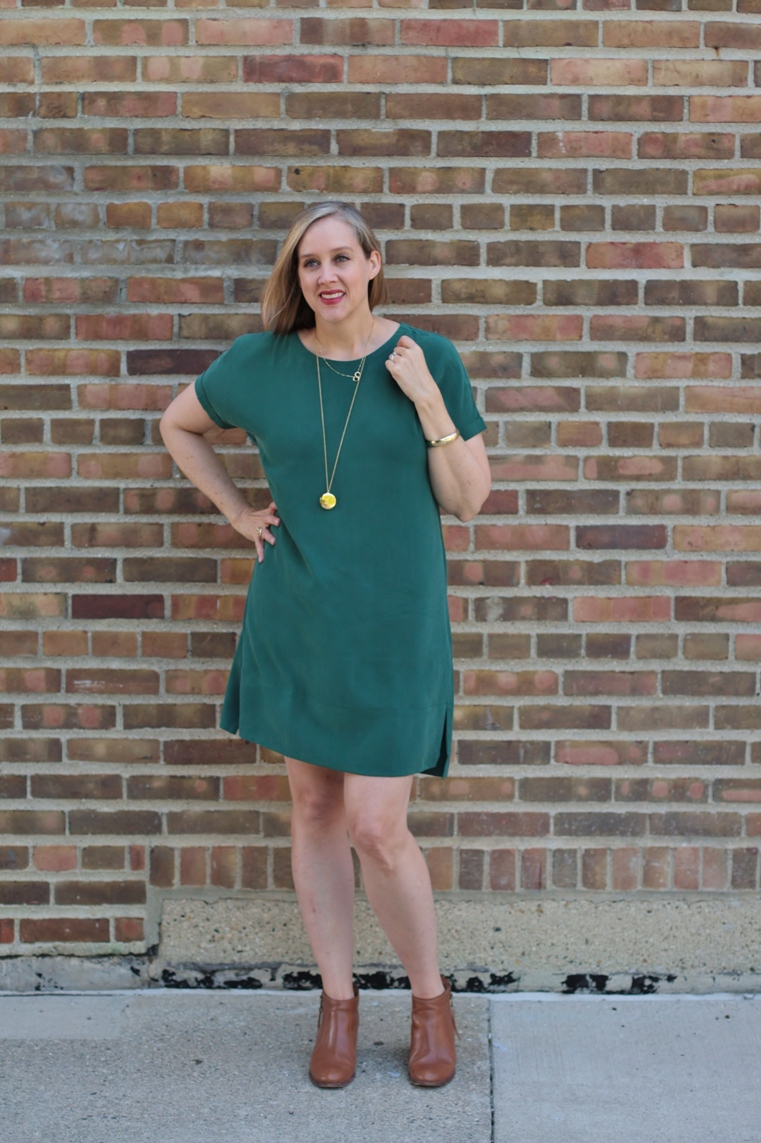 pine green Grana silk tee dress with bootie, 40 + blogger, 40 + style blogger