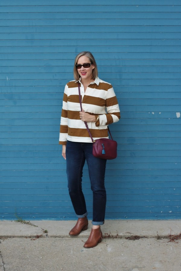 casual fall outfit featuring a j crew rugby shirt, over 40 style blogger, over 40 fashion blogger, Detroit blogger