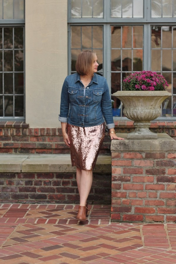 wearing a show pony sequin skirt with a denim jacket, 40 + style blogger, 40 + fashion blogger