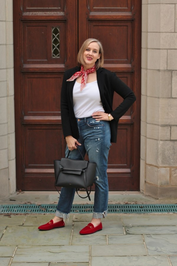 red velvet gucci loafers, over 40 style blogger, over 40 fashion blogger