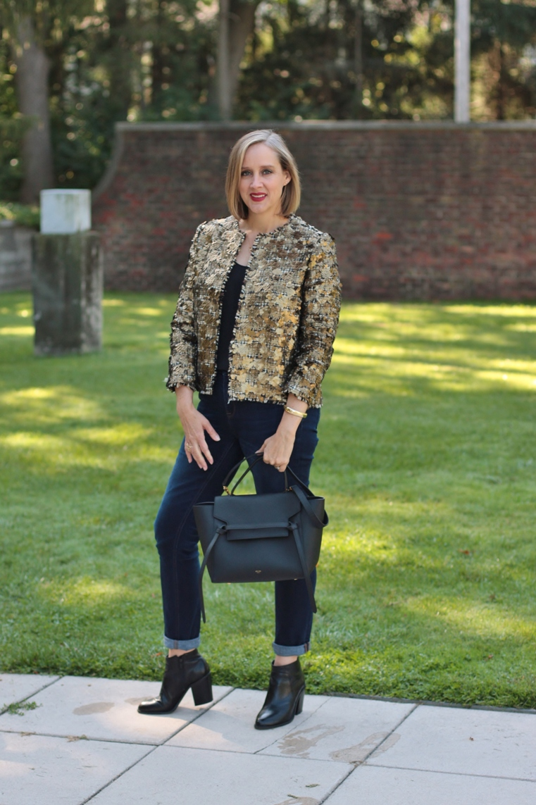 fcb08127 gold sequin blazer with rolled denim and black booties, over 40 style  blogger, over