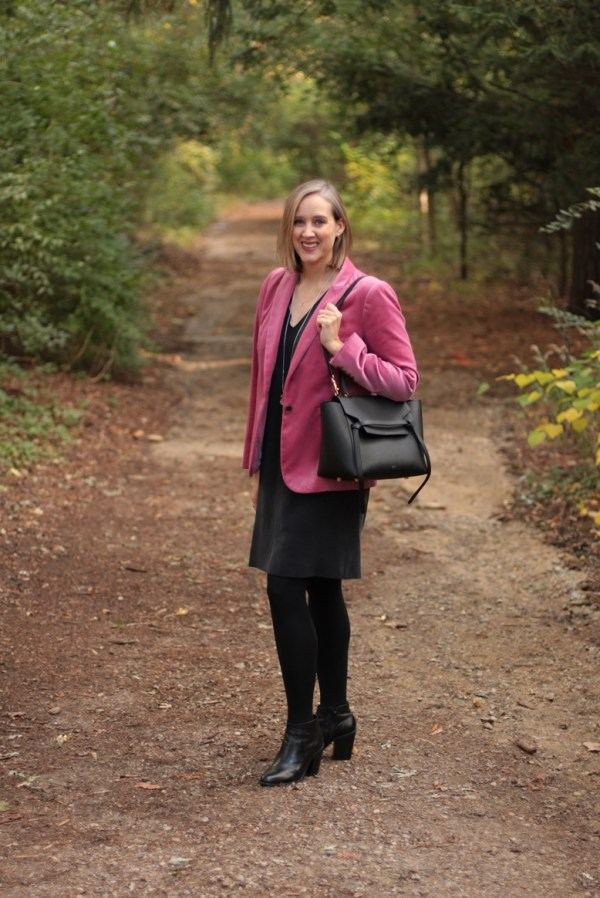 how to wear a pink velvet blazer to the office, over 40 style blogger, over 40 fashion blogger