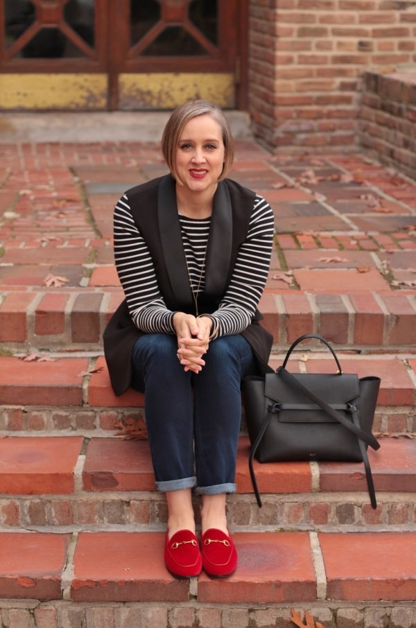 black and white outfir with red velvet gucci loafers, 40 + style blogger, 40 + fashin blogger