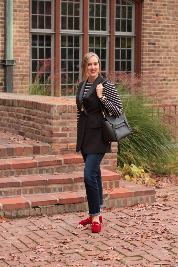 black and white striped breton shirt with denim and red velvet loafers, over 40 fashion blogger, over 40 style blogger