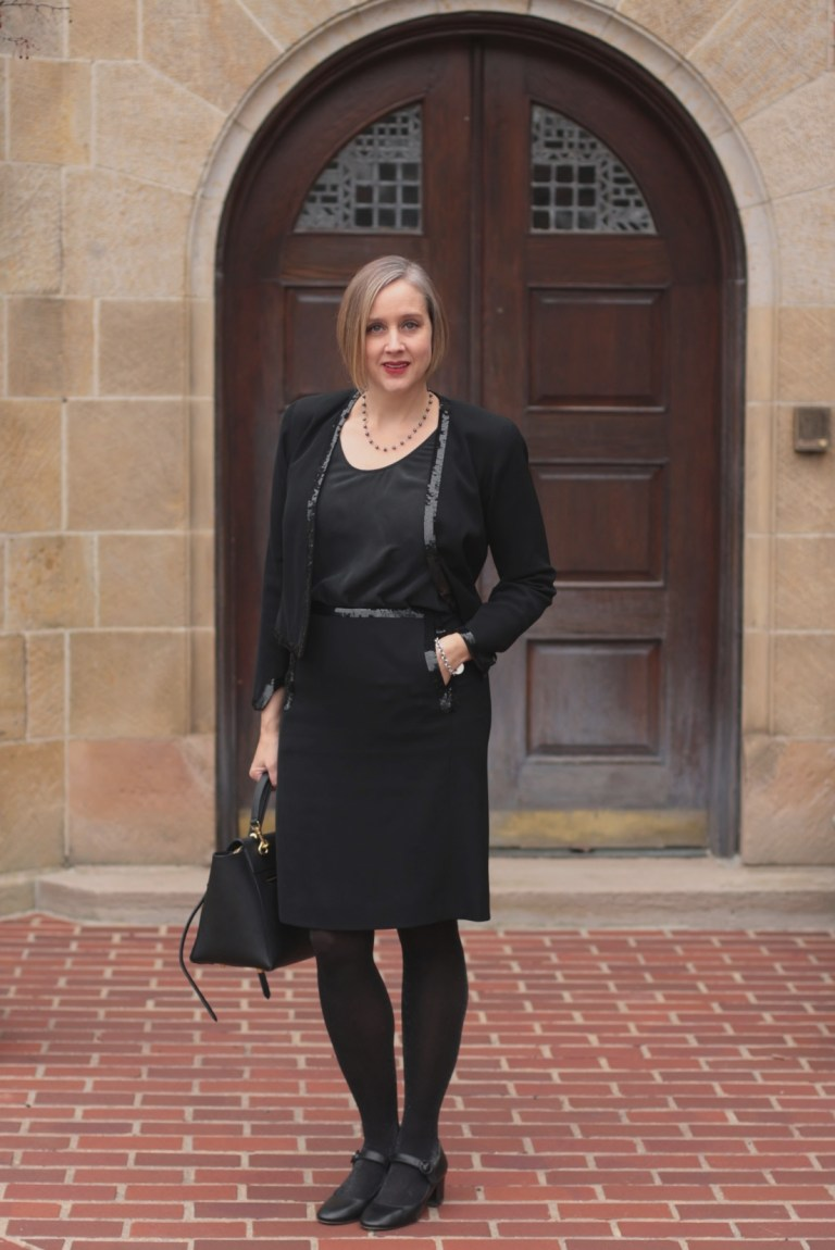 black chanel suit with sequins, over 40 style blogger, over 40 fashion blogger, Detroit blogger