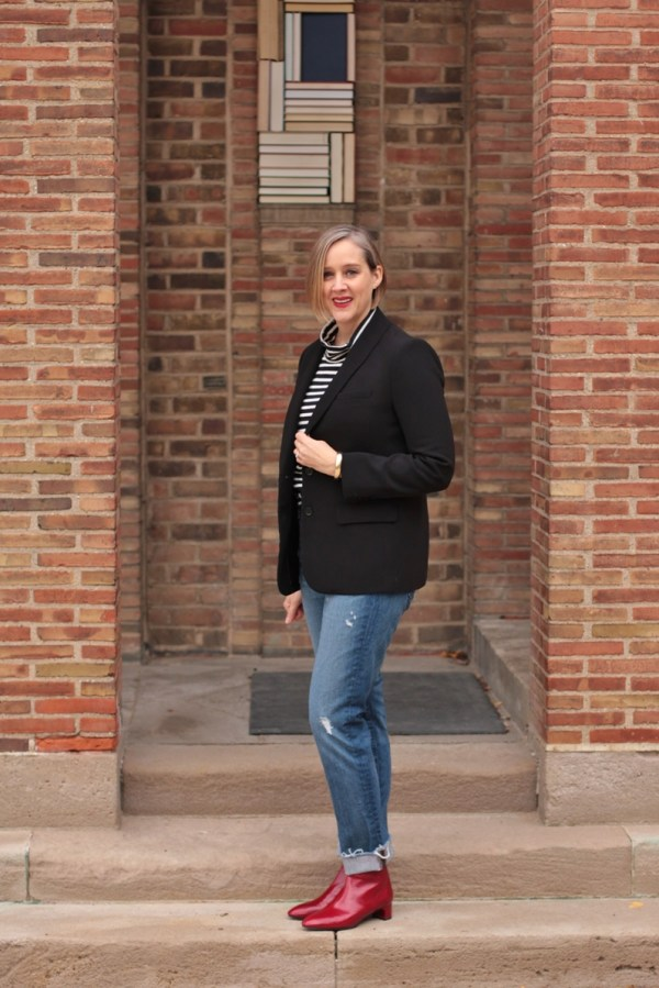 casual outfit featuring a blazer and red booties, 40 + style blogger, 40 + fashion blogger