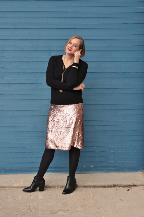 ebe2a54d0e4d ... sequin pencil skirt with black cashmere sweater and booties for the  holidays. 40 + style ...