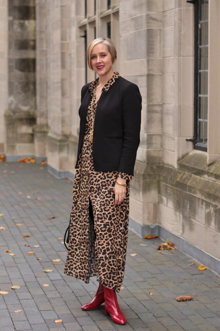 bc17da4690 leopard dress with black blazer and red booties