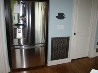 Heather in Hammered Pewter to match stainless refrigerator.