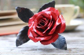 Gloss red metal steel handmade rose by Bob Iles of Fandangle Crafts
