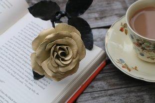 Yellow satin metal recycled steel handmade rose by Bob Iles of Fandangle Crafts