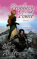 Book cover: Prophecy of Power - quarry, featuring a woman in a dress and a man in leather gear.
