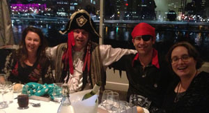 People dressed up as pirates at the At the Cutlasses and Kimonos Banquet.