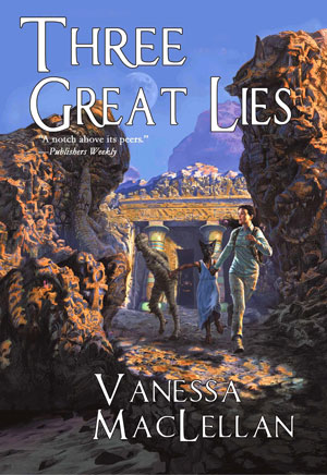 Three Great Lies book Cover featuring a person running from something between unseen in a rocky desert envoirnment.