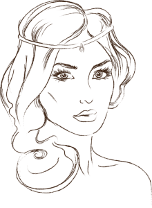 A line drawing of a woman - head and sholders