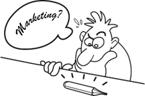 A line drawing of a man thinking about marketing