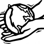 A line drawing of hands holding a globe.