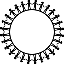 Line drawings of about 20 people in a circle