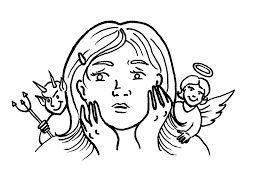 Line art of a woman with an angel on one shoulder and a devil on the other.