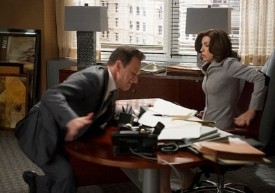 """""""Hitting the Fan""""--Alicia (Julianna Margulies, right) and Cary√¢¬?¬?s plans to depart Lockhart/Gardner are suddenly exposed, leading to mass firings and a desperate battle between the two firms to retain clients, on THE GOOD WIFE, Sunday, Oct 27th (9:00-10:01 PM, ET/PT) on the CBS Television Network. Also pictured: Josh Charles as Will Gardner, left Photo: David M. Russell √?¬©2013 CBS Broadcasting, Inc. All Rights Reserved"""