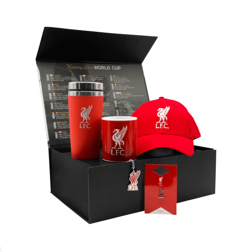 The Liverpool Supporters Anfield Chest gift box with a cap, travel mug, mug, pin and keychain.