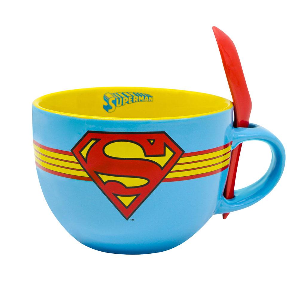 Superman 24 ounce Ceramic Soup Mug with Spoon