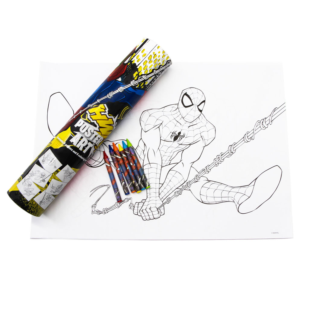 Spiderman Poster Art Tube with coloring sheet and crayons