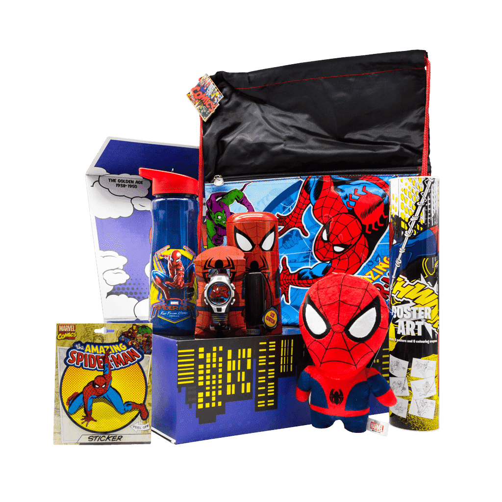 Spiderman Web Slinger Superhero gift box includes kids watch, water bottle, drawstring bag, 7 inch character plush stuffy, poster art tube with crayons and peel off spiderman sticker.