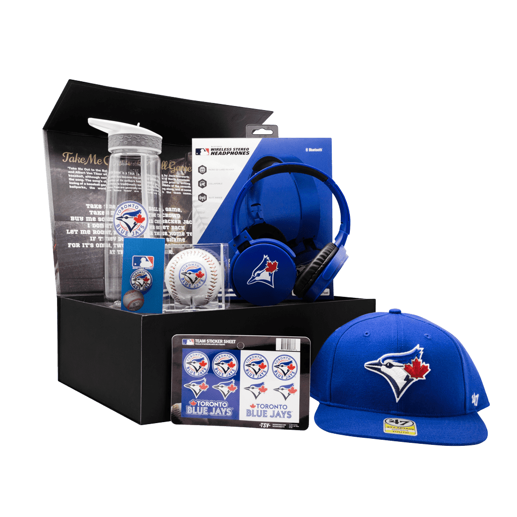 Toronto Blue Jays Fanatics Future All Star Kids Chest gift box with cap, headphones, baseball, water bottle, pin, and stickers.