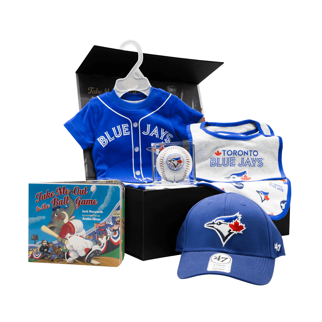 Toronto Blue Jays Supporters My 1st Chest gift box with cap, baseball, bibs, onsie, and book.