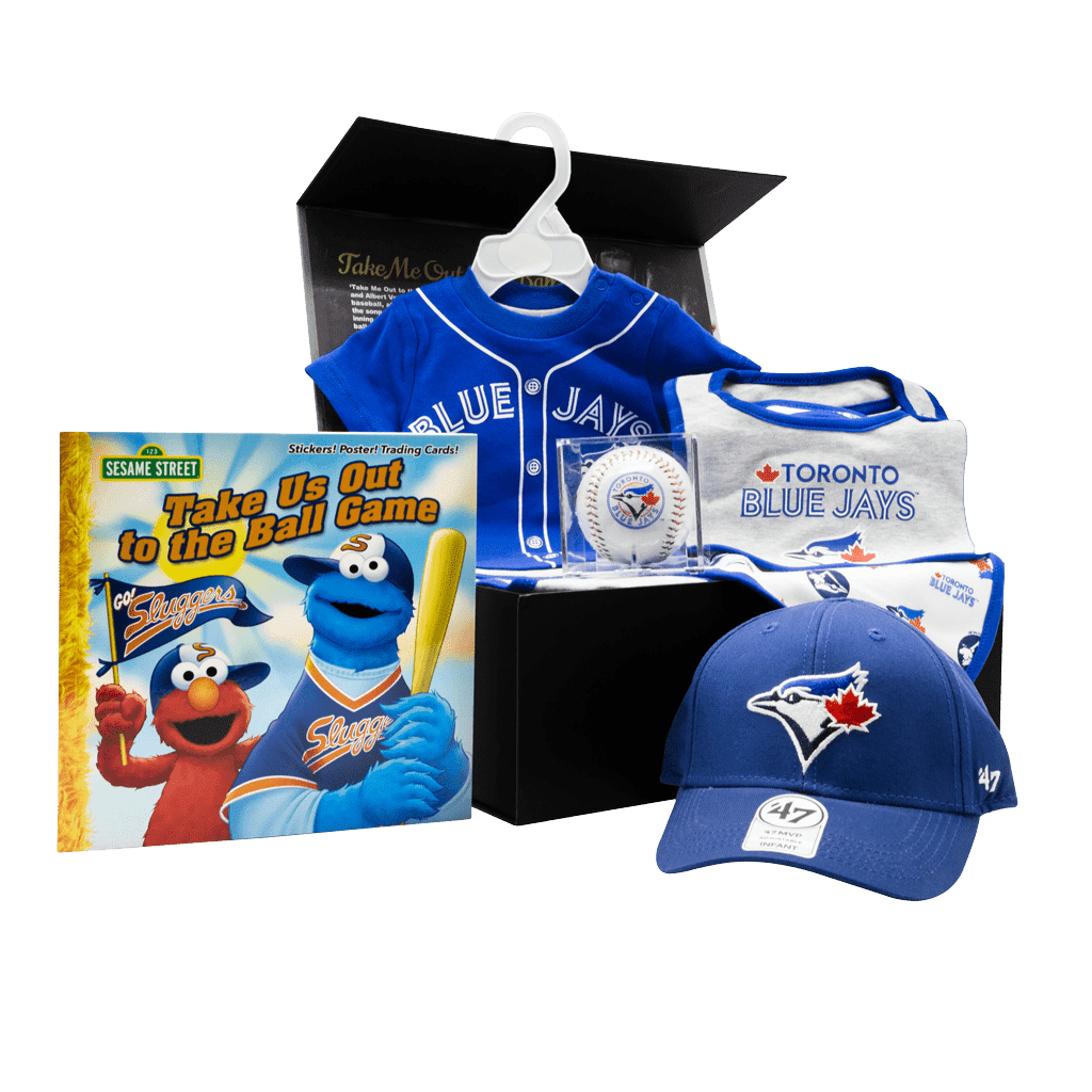 Toronto Blue Jays Supporters Rookie Chest gift box with cap, baseball, bibs, onsie, and book.