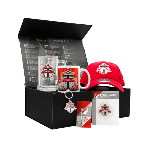 Toronto FC Supporters Southend Chest gift basket with cap, mug, glass sports mug, magnet, keychain, and pin.