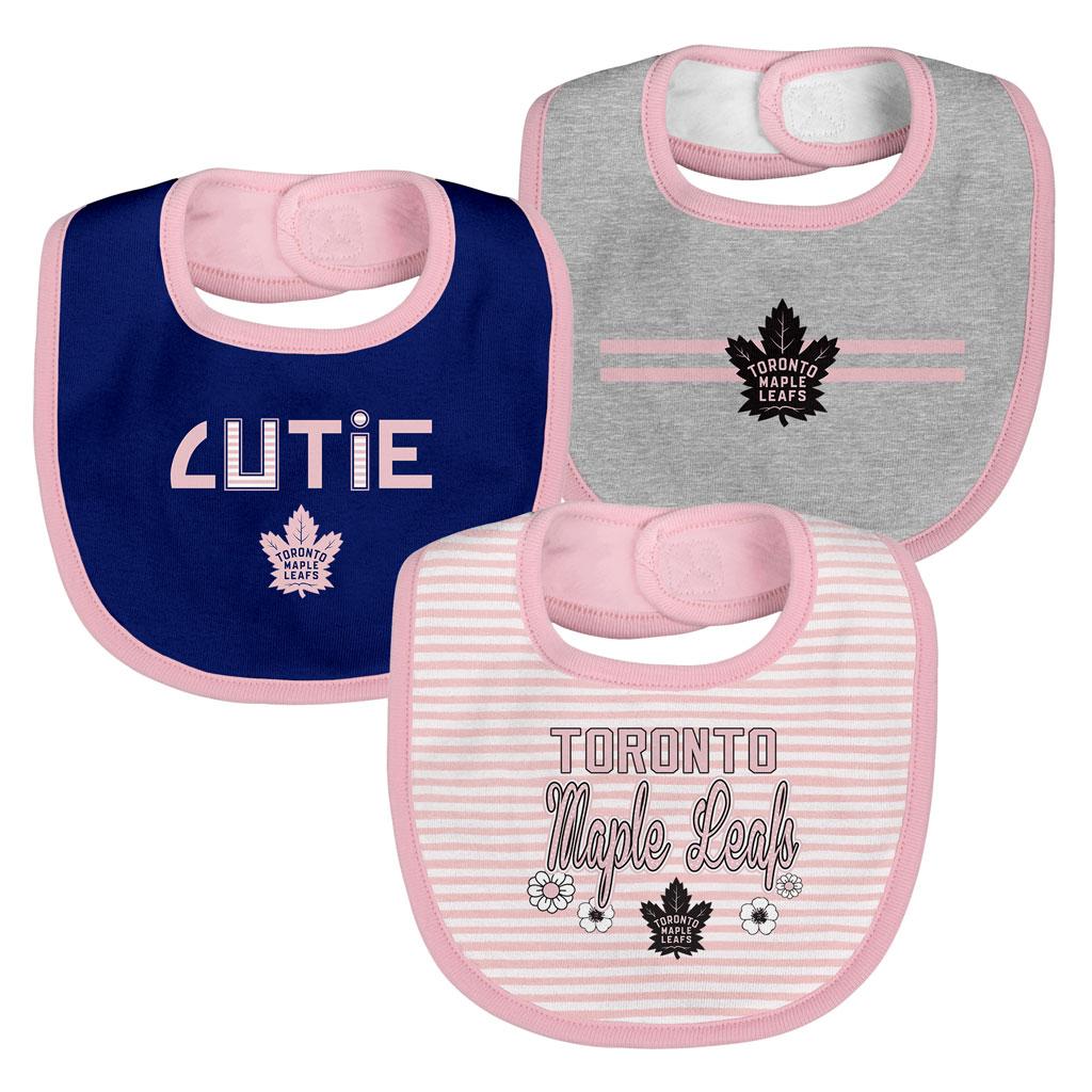 Toronto Maple Leafs Pink Fair Catch 3 Piece Bib Set