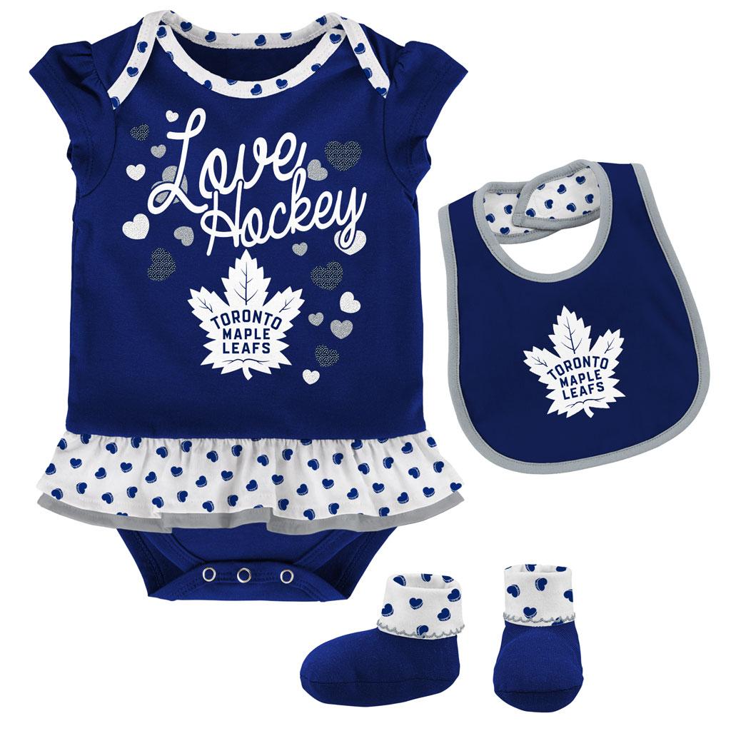 Toronto Maple Leafs Love Hockey Bib & Bootie Set -Girls Infant