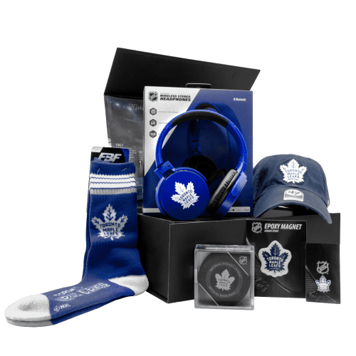 Maple Leafs Fanatics Buds Chest gift box with cap, headphones, puck, socks, magnet, and keychain.