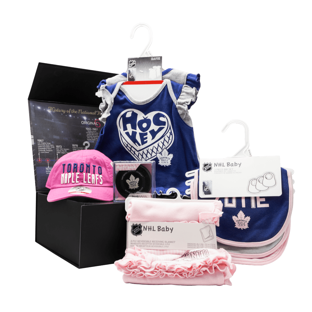 Maple Leafs Supporters My 1st Chest girls gift box with onsies, my first puck, cap, blanket, and bibs.