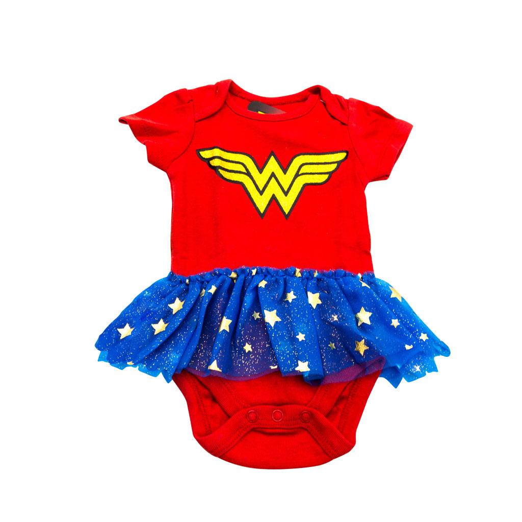 Wonder Woman red and blue Tutu Infant Bodysuit
