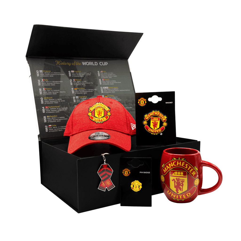 The Manchester United Supporters 1878 Chest gift box with a cap, mug, magnet, pin and keychain.