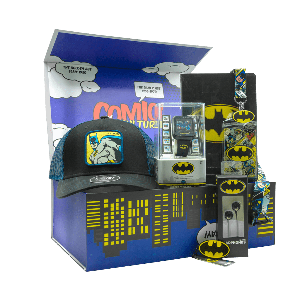 Batman Gotham City Gift Box with cap, smart watch, notebook, lanyard, earbuds, and keychain.