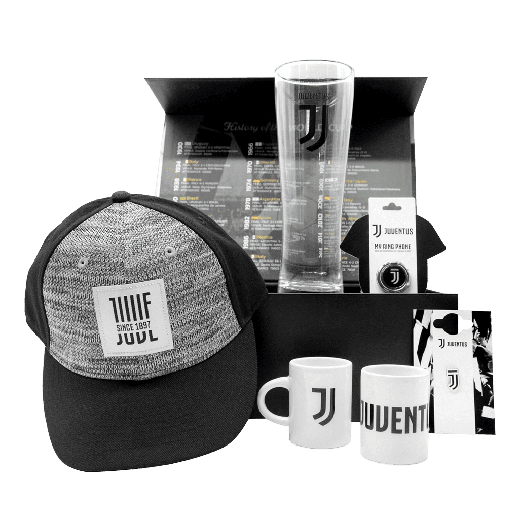 Juventus Curva Sud Gift Box with hat, phone ring, beer glass, lapel pin, and set of 2 espresso cups